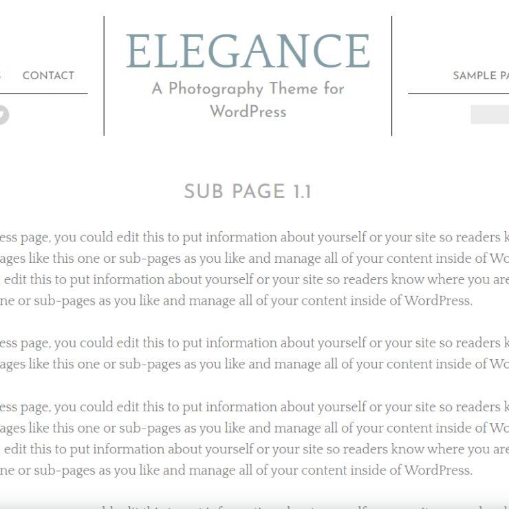 Elegance sample page