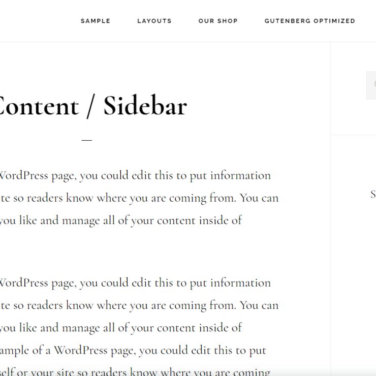Infinity Pro Content Sidebar